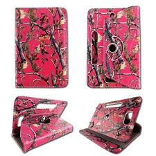 "For Universal Tablet  7""  Hot Pink Camo RT PU Leather 360° Case Cover Wi2"
