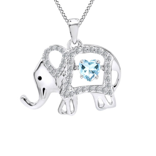 Created Aquamarine /& White Sapphire Elephant Floater Pendant 925 Sterling Silver