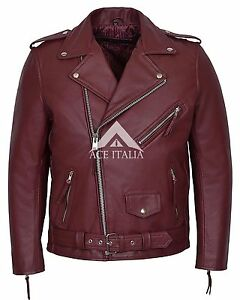 Brando Men S Real Leather Jacket Cherry Red Biker Style Cowhide