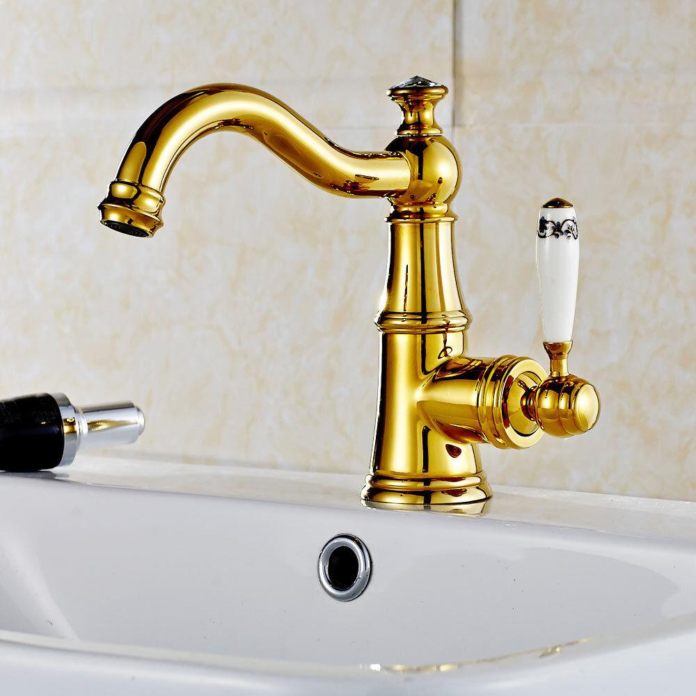 Sanlingo Robinet salle de bains extraordinaire Céramique Poignée Grip verre crystal or