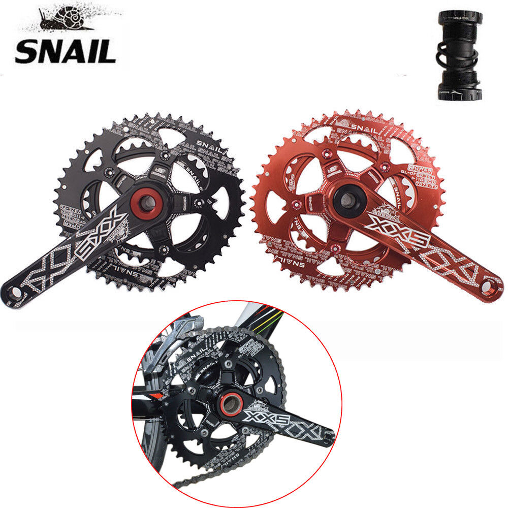 Aluminum Road Bike Crankset 110BCD 170mm Crank Double Speed Chainring + BB