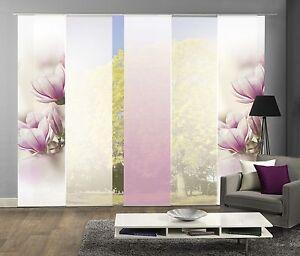 schiebegardinen 5er set digitaldruck magnolie fuchsia ebay. Black Bedroom Furniture Sets. Home Design Ideas