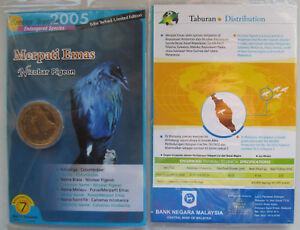 "Malaysia 25 sen 2005 /""Endangered Species Rhinoceros Hornbill/"" UNC Coin Card"