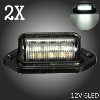 2x weiß 6 LEDs Anhänger LKW Kennzeichenbeleuchtung Nummernschildbeleuchtung