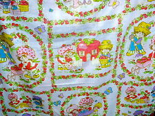 50 X 83 STRAWBERRY SHORTCAKE vintage FLAT BED SHEET 1980 American Greetings Corp