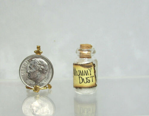 Dollhouse Miniature or Fairy Garden Corked Glass Jar Labeled Mummy Dust