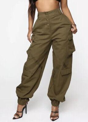 Moda Nova Mujer Amelia Oliva Verde Militar Pantalones Cargo De Gran Tamano Mediano Nuevo Con Etiquetas Ebay