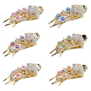 Girls-Rhinestone-Crystal-Hair-Clip-Women-Flower-Jewelry-Tiara-Barrette-Hairpin