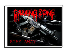 GAMING ZONE STAY AWAY DOOR SIGN - GAMER BEDROOM TEENAGER CHILD XBOX PS4 COD PC