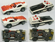 2pc Aurora AFX G+ Screecher Magna Steering Super Barracuda +Police Vega Slot Car