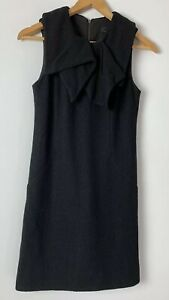 CUE-Beautiful-Black-Wool-Dress-With-Folded-Neckline-Size-6