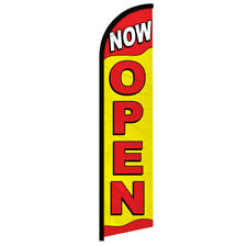 Now Open Windless Swooper Advertising Feather Flag Nowopen Red Amp Yellow Sign