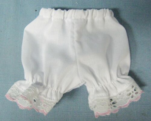 """WHITE COTTON PANTIES w// White /& Pink Lace-Made for 15/""""  MY FRIEND MANDY DOLL"""