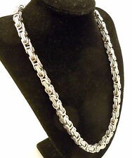 Men's Silver Byzantine Chain Necklace Stainless Steel 8 mm Wide 60 cm Long