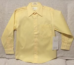 NWT-Boys-Strasburg-Children-Long-Sleeve-Yellow-Dress-Shirt-With-Collar-Size-8
