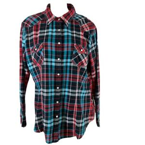 Rock-and-roll-cowgirl-woman-s-western-shirt-pearl-snap-plaid-size-XXL-Rodeo