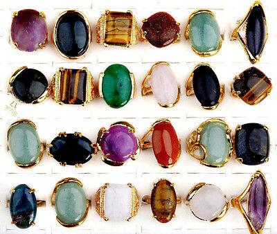 Wholesale Jewerly Lots 5pcs Vintage Gold P Natural Stone Women Ring Bulk