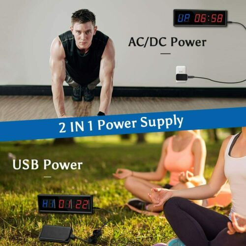 1.5 Inch LED Interval Timer Home Gym Stopwatch Count Down//Up Clock Tabata Boxing