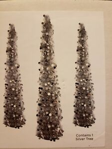 Details About 5 Ft Silver Tinsel Christmas Tree Pop Up Thin Collapsible Seasons By Nicole