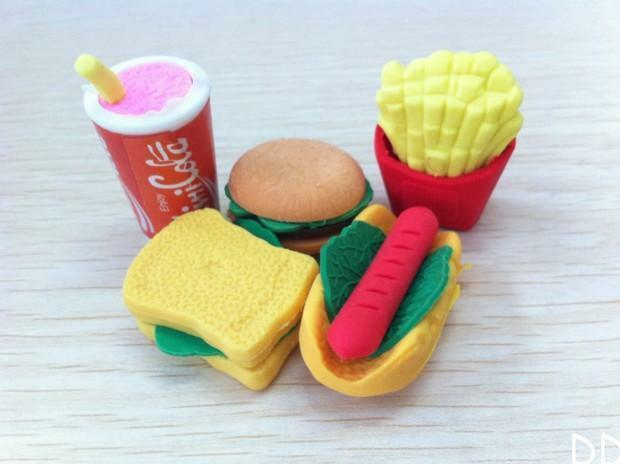 DI US 5Pcs Lovely Fast Food Style Rubber Pencil Eraser Students Stationery Toy