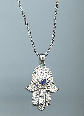 1/2 CARAT TW PAVE CZ & SAPPHIRE HAMSA WITH EVIL EYE PENDANT NECKLACE