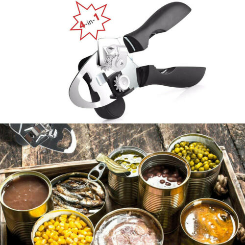 4IN1 Ergonomic Can Opener Manual Smooth Edge Stainless Steel  Heavy Duty Tin Y