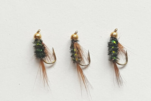 3 X Gold Head Holographique vert Diawl Bach nymphes Tailles 10,12,14,16 disponible