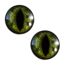 Pair of 30mm Green Alligator Glass Eyes for Jewelry or Taxidermy Doll Making
