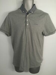 Da-Uomo-Ben-Sherman-Grigio-Slim-Manica-Corta-Polo-T-Shirt-Top-Taglia-Media-M
