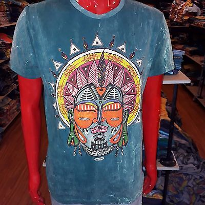 Men T Shirt short sleeve cotton Mask Bali Hind Tribe Love tee No time Om M New