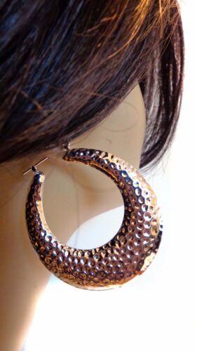 LARGE HOOP EARRINGS FULL PUFFY GOLD OR SILVER TONE HAMMERED HOOP 2.25 INCH HOOP