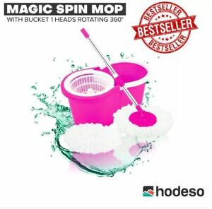Hodeso-Magic-Spin-Mop-W-Bucket-1-Heads-Rotating-360-PINK