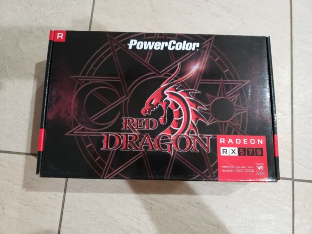 RX 570 Power Color RED DRAGON Radeon - 4GB GDDR5 - Video Graphics Card 8 pin