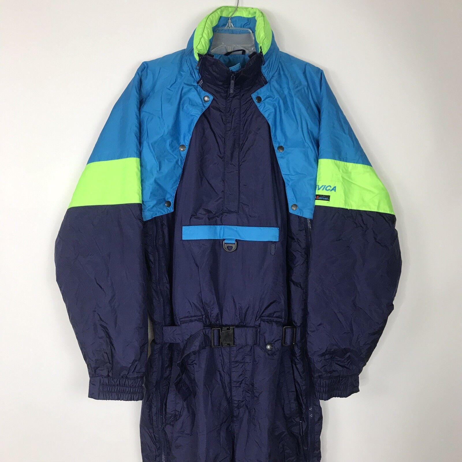 Vtg 80s 90s Nevica Mens  Sz 44 Ski Suit Snow Bib Navy Neon Snowsuit Entrant Z15  manufacturers direct supply