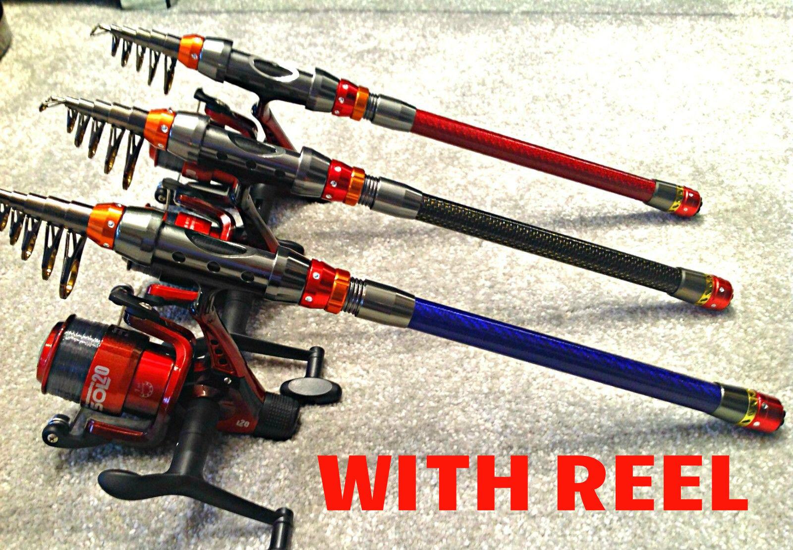 PIKE ROD REEL & REEL ROD SETUP / TELESCOPIC TRAVEL ROD 2.1M / IDEAL FOR STALKING,SPINNING c14998