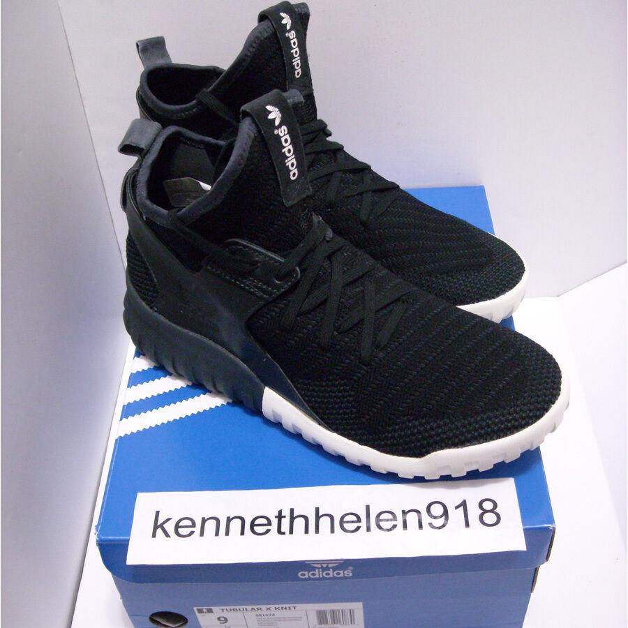 NEW ADIDAS TUBULAR X KNIT zapatos CORE negro CARBON SOLID gris S81674 MENS Talla 9