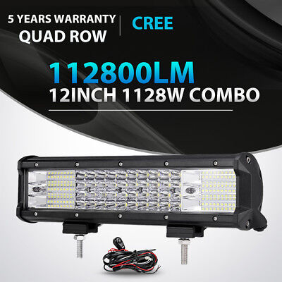 "Quad Row 12inch 1128W LED Work Light Bar Spot Flood Offroad 4WD ATV Truck 9/"" 10/"""