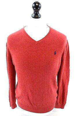 Ralph Lauren Da Uomo Maglione Pullover M Cotone Di Medio Rosso-mostra Il Titolo Originale Lussuoso Nel Design