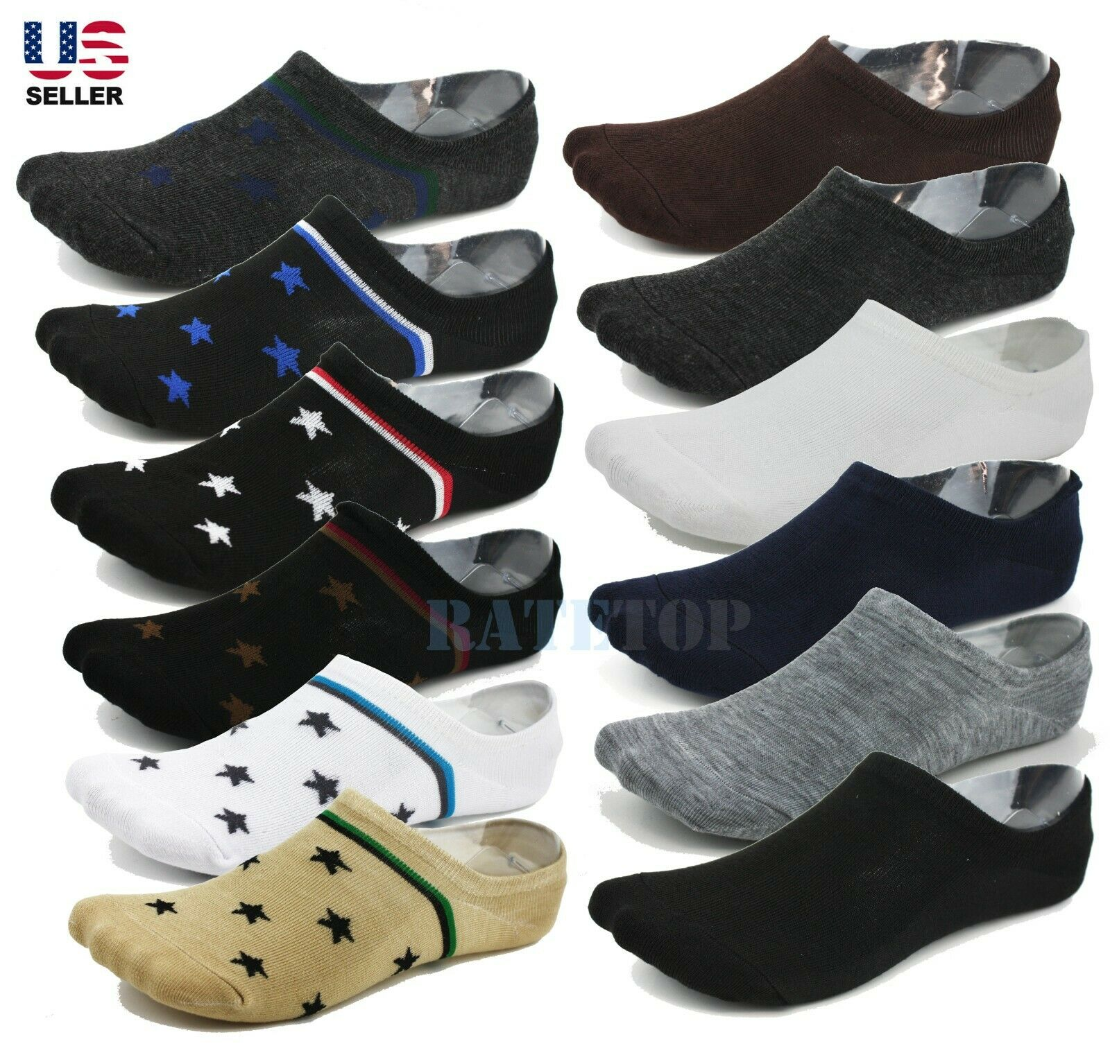 10 Pairs Men/'s Invisible No Show Nonslip Loafer Boat Ankle Low Cut Cotton Socks