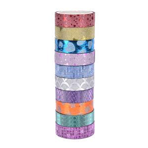 10x-DIY-Self-Adhesive-Glitter-Washi-Masking-Tape-Sticker-Craft-Decor-15mmx3m-FO