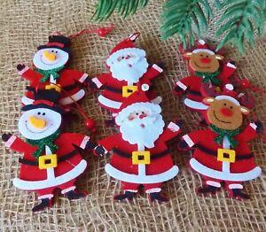 image is loading pair santa snowman or reindeer hanging christmas tree - Santa Snowman 2