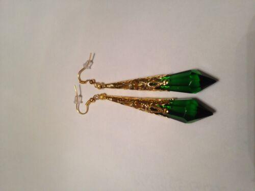 Gothic Collar Vampiro Gótico Gargantilla Y Aretes Con Cristal Verde