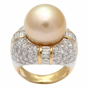 Antique Sapphire & Diamond Dome Ring Trio South Sea Pearl Ring Partitioned Axis