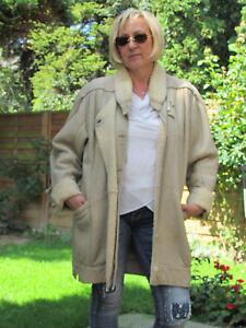 WOMEN-XL-XXL-Shearling-Lambskin-Sheepskin-Fur-Leather-Coat-Jacket-D2471