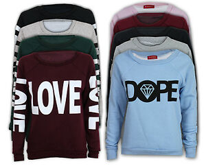 Pull-Over-Femme-Top-Imprime-Dope-Love-Diamant-Col-Ras-Cou-Polaire-Neuf
