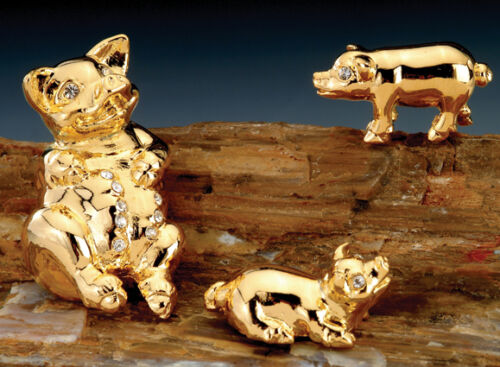 PIG FAMILY ~24K GOLD PLATED FIGURINE WITH BEST~*~AUSTRIAN CRYSTALS~*~