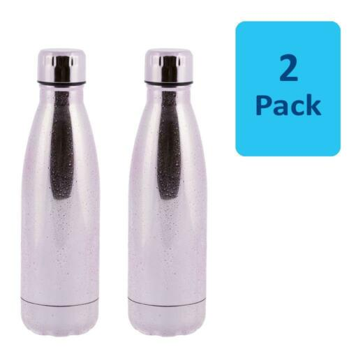 WHSmith Pink Water Droplets 500ml Stainless Steel Insulated Water Bottle