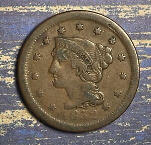 1852-Braided-Hair-Large-Cent-Collector-Coin-for-your-Collection-or-Set