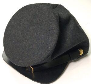 CIVIL-WAR-CSA-CONFEDERATE-DARK-GREY-WOOL-FORAGE-CAP-HAT-LARGE