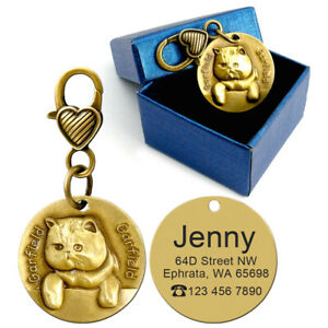3D-Gold-Engraved-Cat-Tag-Disc-Disk-Personalised-Pet-Kitten-Name-ID-Collar-Tags